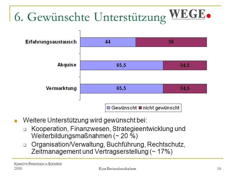 Kreative Potentiale in Bielefeld 2008 Eine Bestandsaufnahme 19 6.