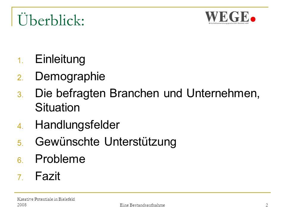 Kreative Potentiale in Bielefeld 2008 Eine Bestandsaufnahme 23 7.