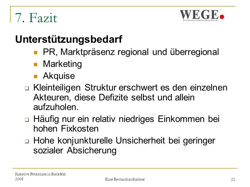 Kreative Potentiale in Bielefeld 2008 Eine Bestandsaufnahme 21 7.