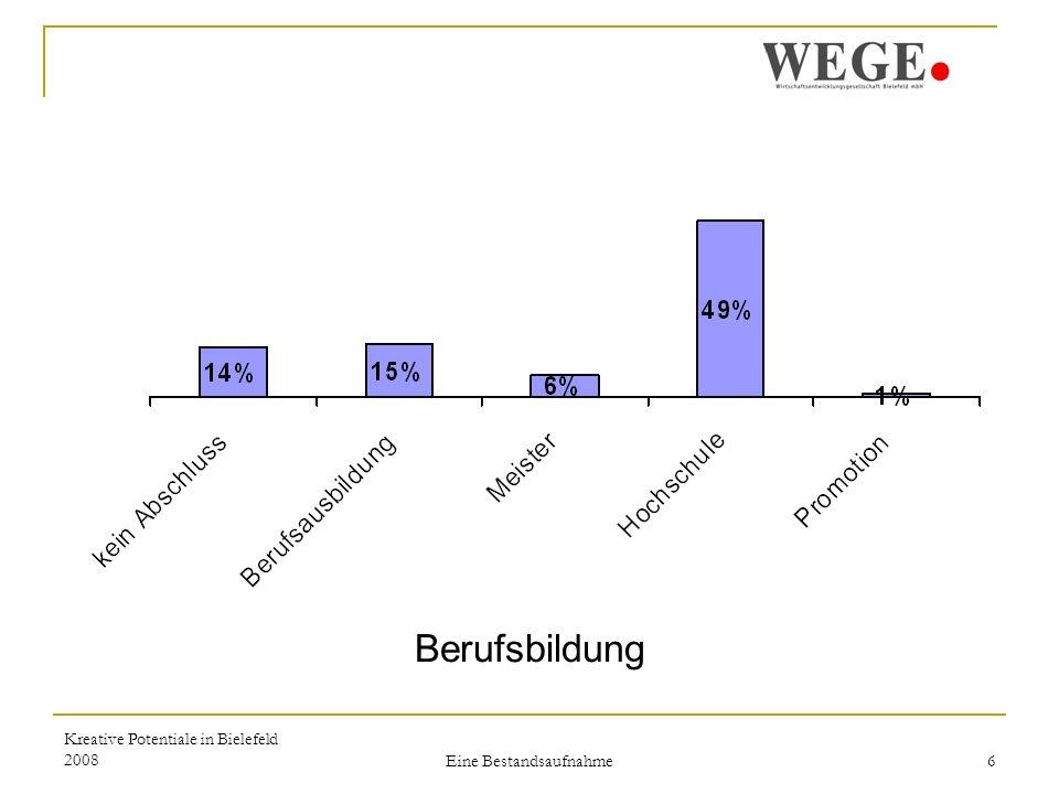 Kreative Potentiale in Bielefeld 2008 Eine Bestandsaufnahme 7 3. Branchen und Situation Branchen