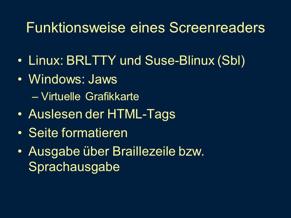 Funktionsweise eines Screenreaders Linux: BRLTTY und Suse-Blinux (Sbl) Windows: Jaws –Virtuelle Grafikkarte Auslesen der HTML-Tags Seite formatieren A