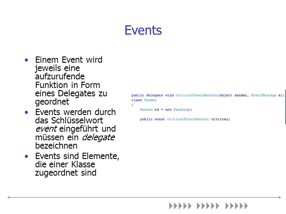 Events Einem Event wird jeweils eine aufzurufende Funktion in Form eines Delegates zu geordnet Events werden durch das Schlüsselwort event eingeführt