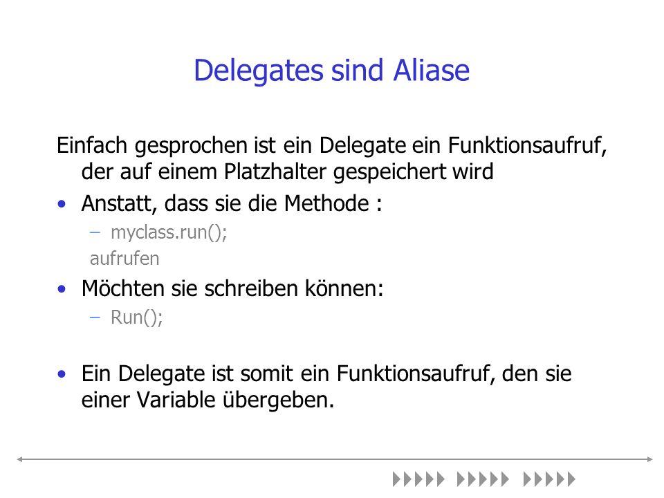 Ein einfaches Beispiel Delegates werden durch das Schlüsselwort delegate erzeugt Dem Schlüsselwort folgt die Deklaration des Aufrufes public delegate void doIt(int i); Sie weisen der Delegatevaribale während der Laufzeit den auszuführenden Code zu