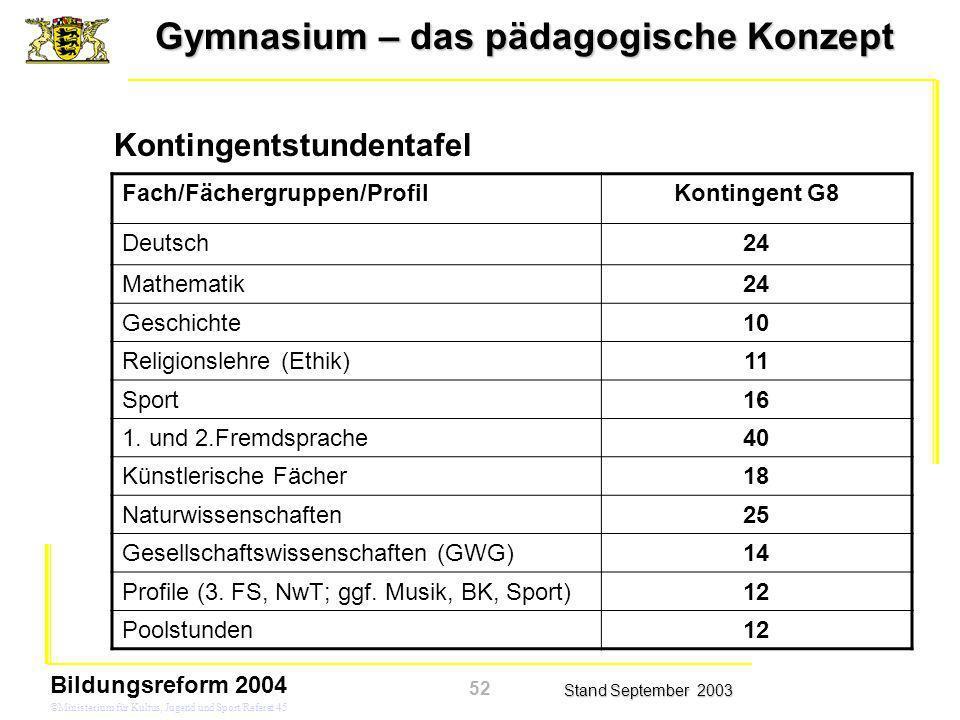 Gymnasium – das pädagogische Konzept Stand September 2003 Bildungsreform 2004 ©Ministerium für Kultus, Jugend und Sport/Referat 45 Kontingentstundenta