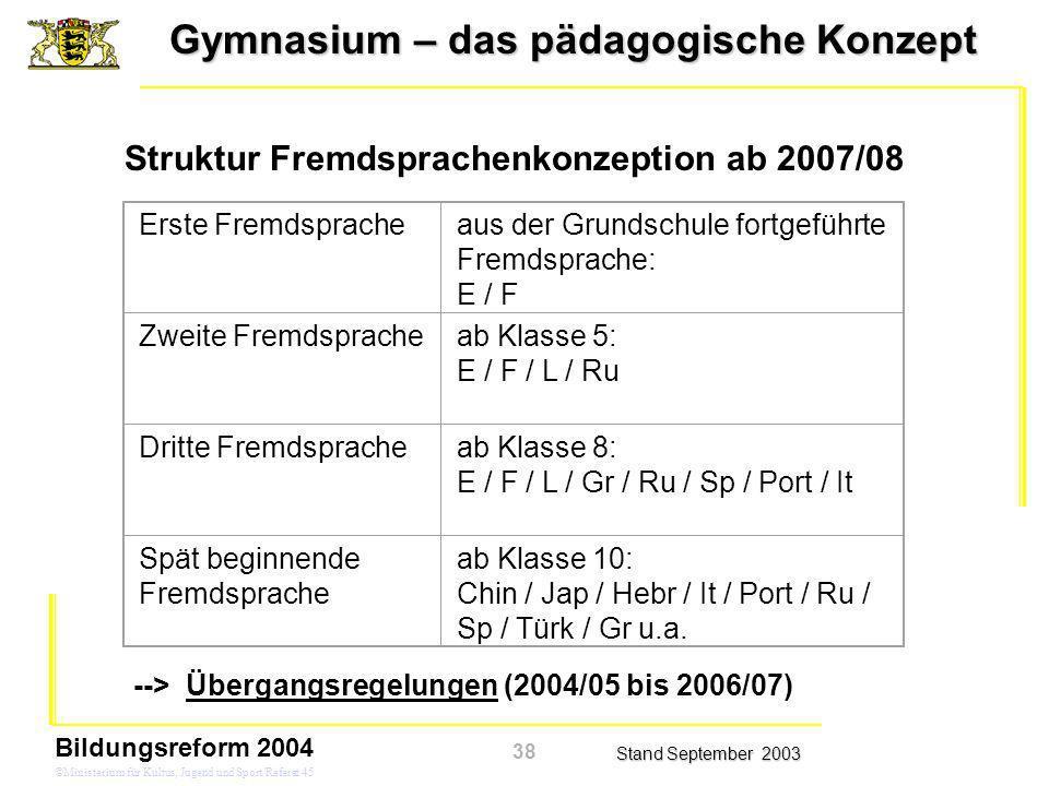 Gymnasium – das pädagogische Konzept Stand September 2003 Bildungsreform 2004 ©Ministerium für Kultus, Jugend und Sport/Referat 45 Struktur Fremdsprac