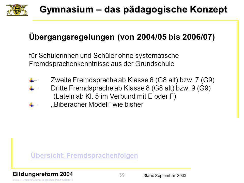 Gymnasium – das pädagogische Konzept Stand September 2003 Bildungsreform 2004 ©Ministerium für Kultus, Jugend und Sport/Referat 45 Übergangsregelungen