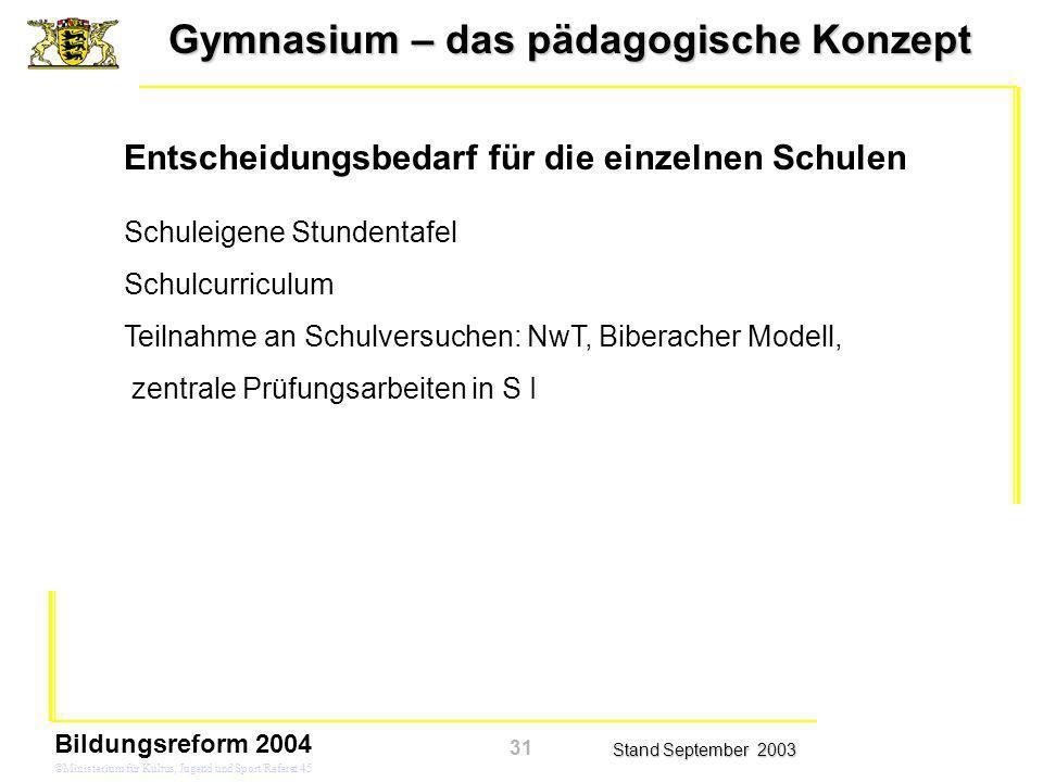Gymnasium – das pädagogische Konzept Stand September 2003 Bildungsreform 2004 ©Ministerium für Kultus, Jugend und Sport/Referat 45 Schuleigene Stunden