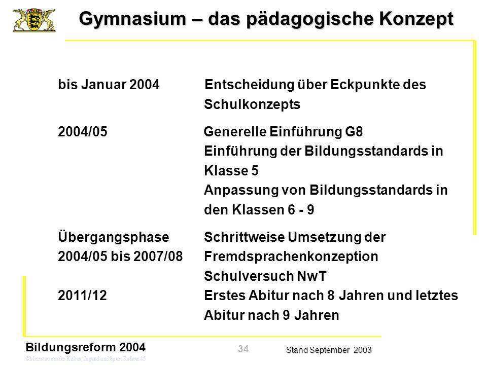 Gymnasium – das pädagogische Konzept Stand September 2003 Bildungsreform 2004 ©Ministerium für Kultus, Jugend und Sport/Referat 45 Zeitplan bis Januar