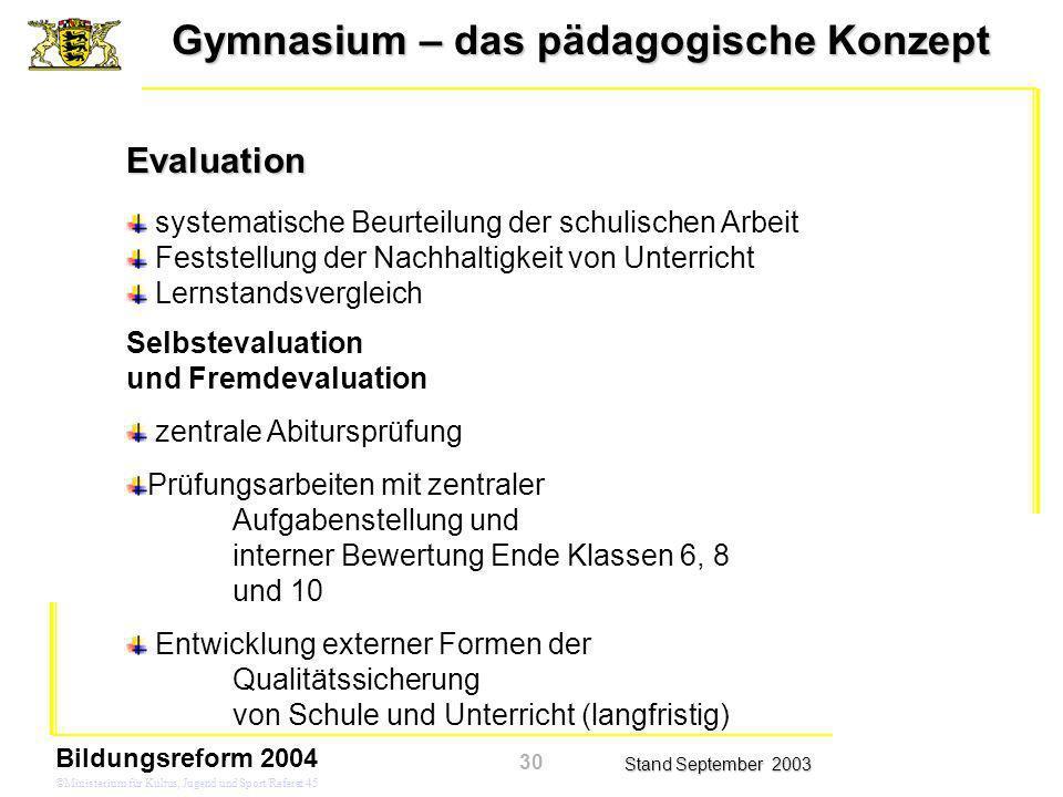Gymnasium – das pädagogische Konzept Stand September 2003 Bildungsreform 2004 ©Ministerium für Kultus, Jugend und Sport/Referat 45 systematische Beurt