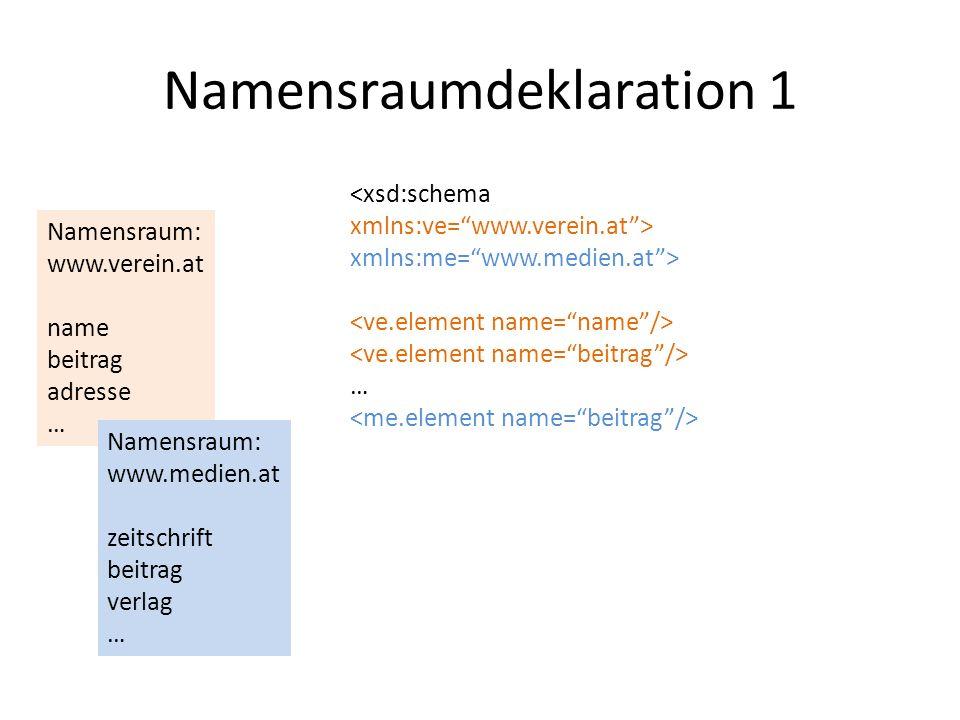 Namensraumdeklaration 1 Namensraum: www.verein.at name beitrag adresse … <xsd:schema xmlns:ve=www.verein.at> xmlns:me=www.medien.at> … Namensraum: www.medien.at zeitschrift beitrag verlag …