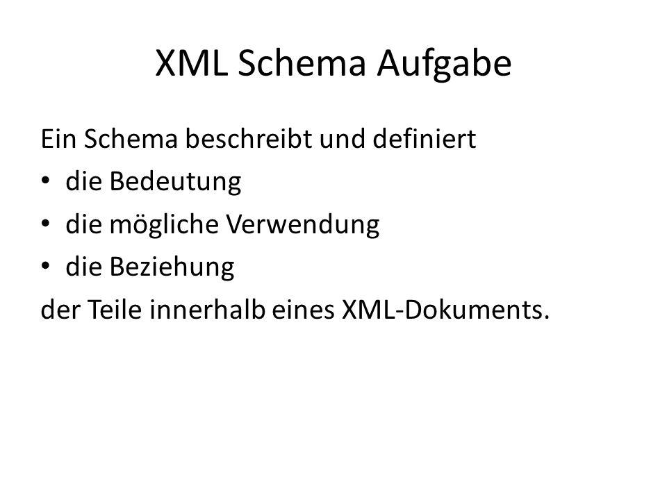 XML Schema Aufgabe Ein Schema beschreibt und definiert die Bedeutung die mögliche Verwendung die Beziehung der Teile innerhalb eines XML-Dokuments.