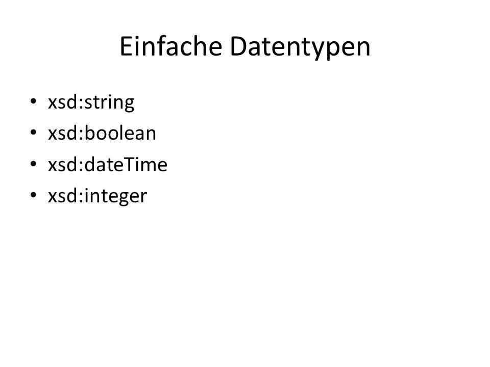 Einfache Datentypen xsd:string xsd:boolean xsd:dateTime xsd:integer