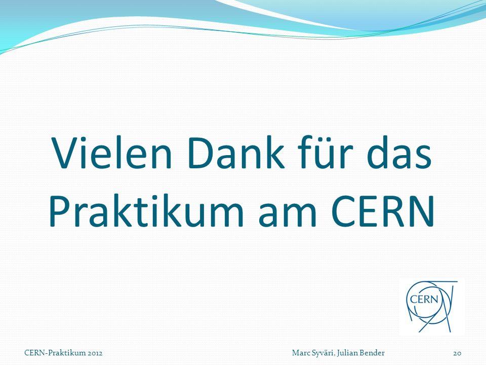 Vielen Dank für das Praktikum am CERN CERN-Praktikum 2012Marc Syväri, Julian Bender20