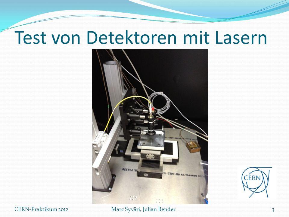 Test von bestrahlten Detektoren Überprüfung von bestrahlten Detektoren mit Lasern Wärmeabgabe durch Detektor und Front-End Chip Strahlenschäden größerer Blindstrom stärkere Wärmeentwicklung größerer Blindstrom … Kühlung des Detektors notwendig 4Marc Syväri, Julian BenderCERN-Praktikum 2012