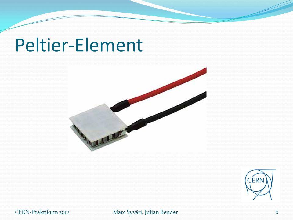 Aufbau eines Peltier-Elements Alternierende Verbindung zwischen n und p-dotierten Halbleitern Höhere Temperaturdifferenz möglich 7Marc Syväri, Julian BenderCERN-Praktikum 2012 Keramikplatte Halbleiter