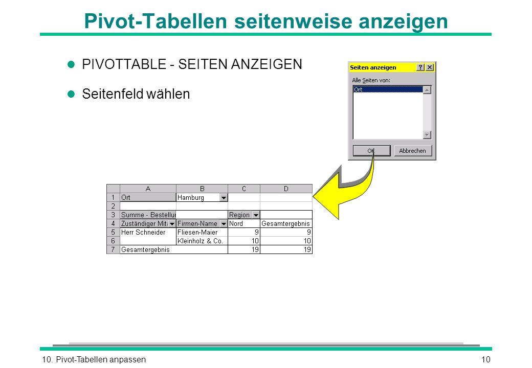 10. Pivot-Tabellen anpassen10 Pivot-Tabellen seitenweise anzeigen l PIVOTTABLE - SEITEN ANZEIGEN l Seitenfeld wählen