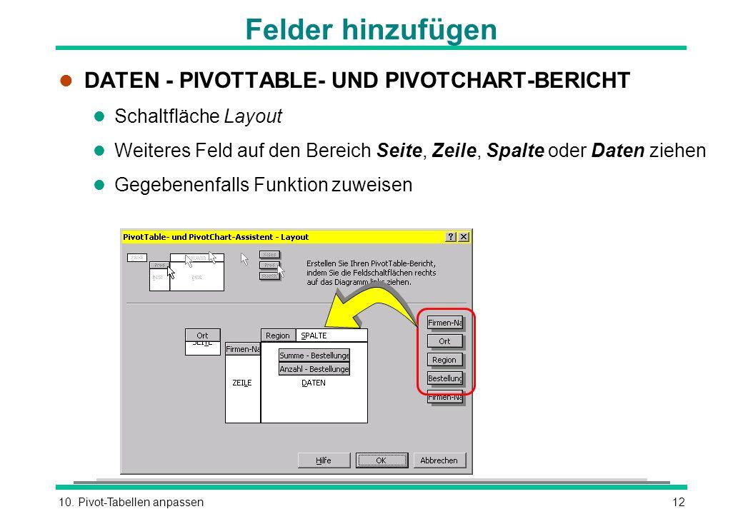 10. Pivot-Tabellen anpassen12 Felder hinzufügen l DATEN - PIVOTTABLE- UND PIVOTCHART-BERICHT l Schaltfläche Layout l Weiteres Feld auf den Bereich Sei