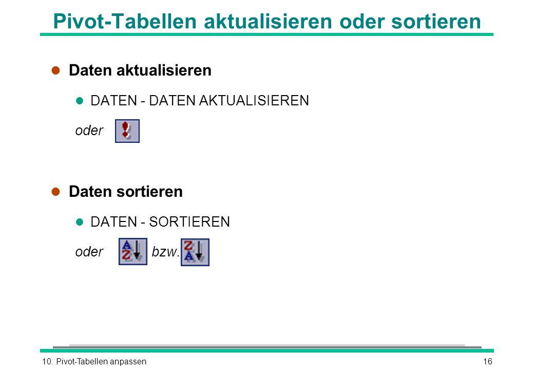 10. Pivot-Tabellen anpassen16 Pivot-Tabellen aktualisieren oder sortieren l Daten aktualisieren l DATEN - DATEN AKTUALISIEREN oder l Daten sortieren l