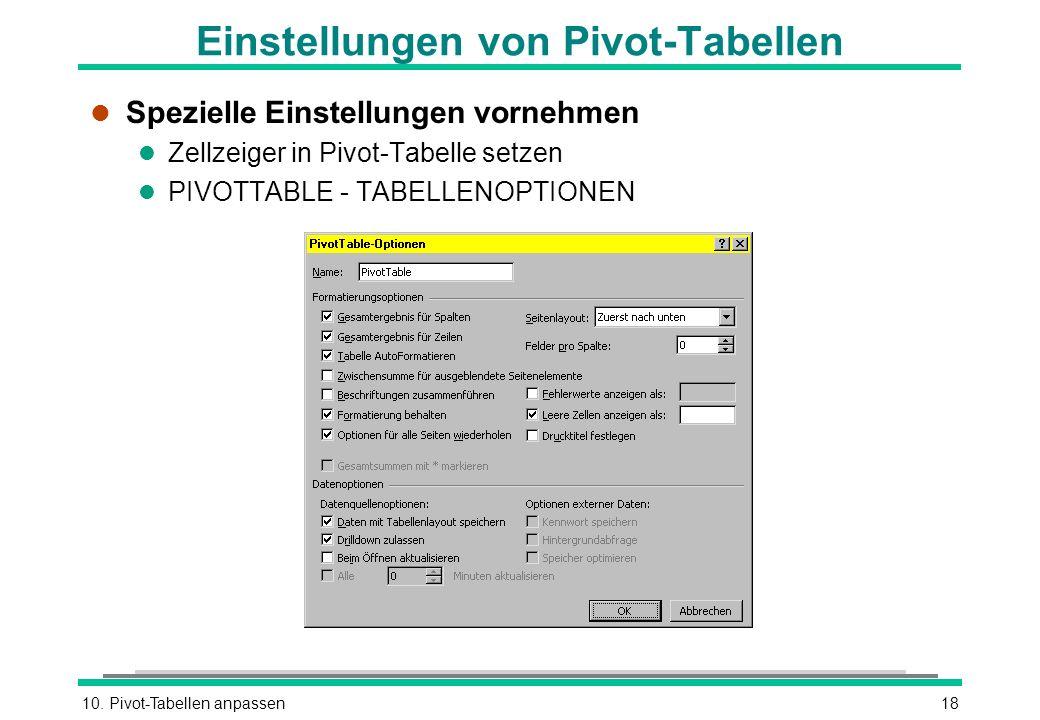 10. Pivot-Tabellen anpassen18 Einstellungen von Pivot-Tabellen l Spezielle Einstellungen vornehmen l Zellzeiger in Pivot-Tabelle setzen l PIVOTTABLE -