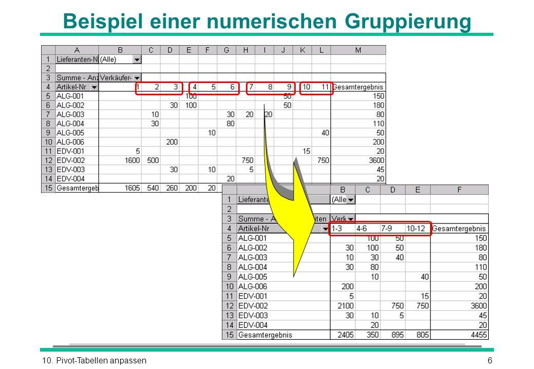 10. Pivot-Tabellen anpassen6 Beispiel einer numerischen Gruppierung