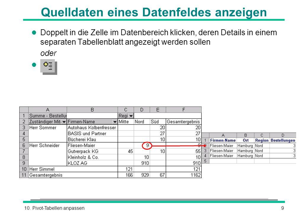 10. Pivot-Tabellen anpassen9 Quelldaten eines Datenfeldes anzeigen l Doppelt in die Zelle im Datenbereich klicken, deren Details in einem separaten Ta