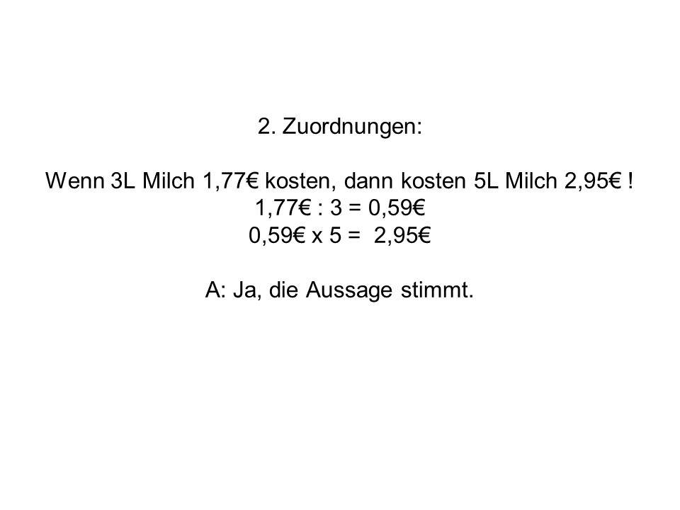 2. Zuordnungen: Wenn 3L Milch 1,77 kosten, dann kosten 5L Milch 2,95 ! 1,77 : 3 = 0,59 0,59 x 5 = 2,95 A: Ja, die Aussage stimmt.