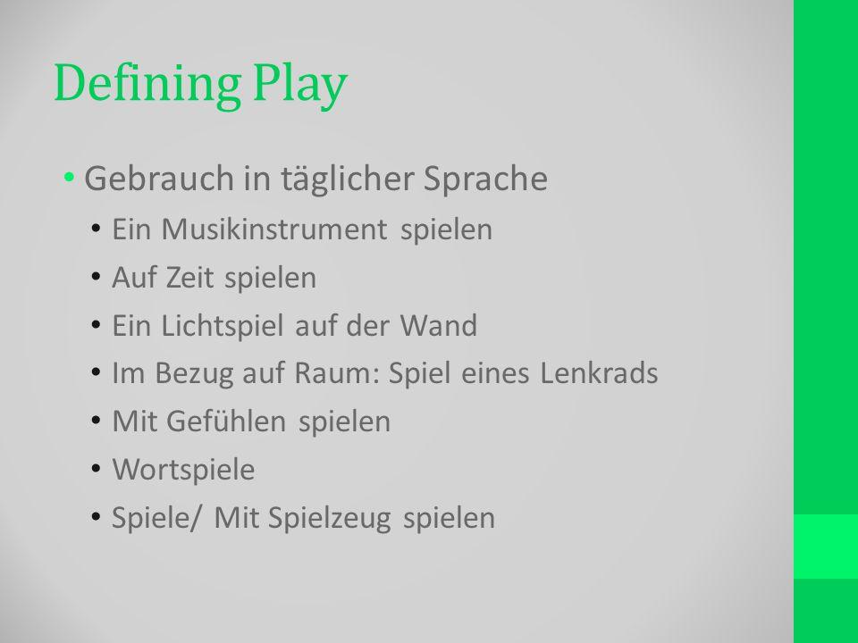 Defining Play Gebrauch in täglicher Sprache Ein Musikinstrument spielen Auf Zeit spielen Ein Lichtspiel auf der Wand Im Bezug auf Raum: Spiel eines Lenkrads Mit Gefühlen spielen Wortspiele Spiele/ Mit Spielzeug spielen