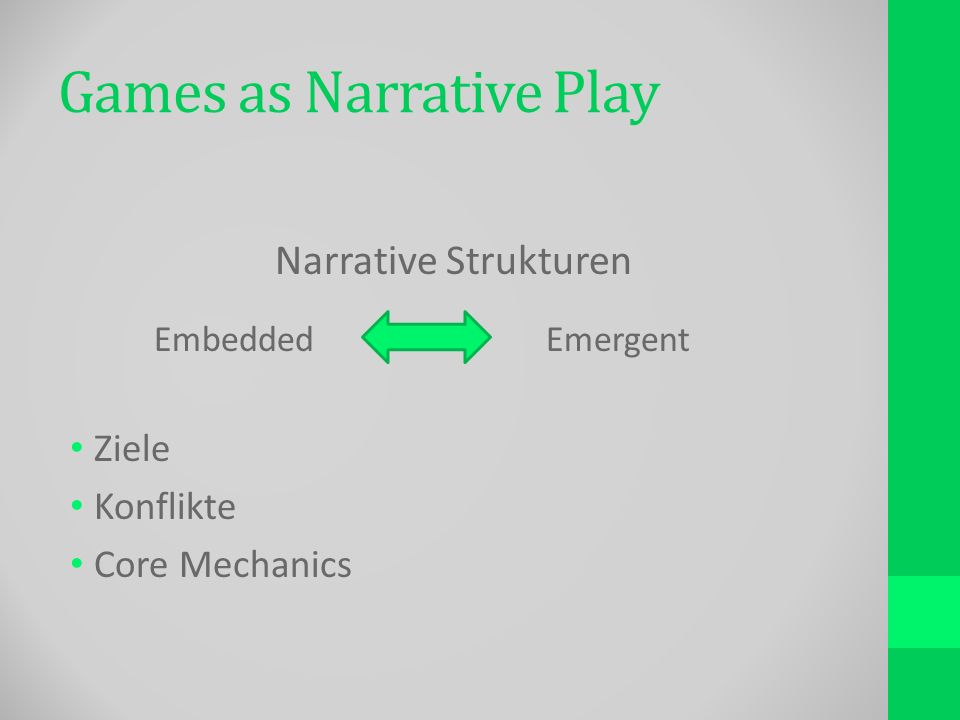 Games as Narrative Play Narrative Strukturen Embedded Emergent Ziele Konflikte Core Mechanics
