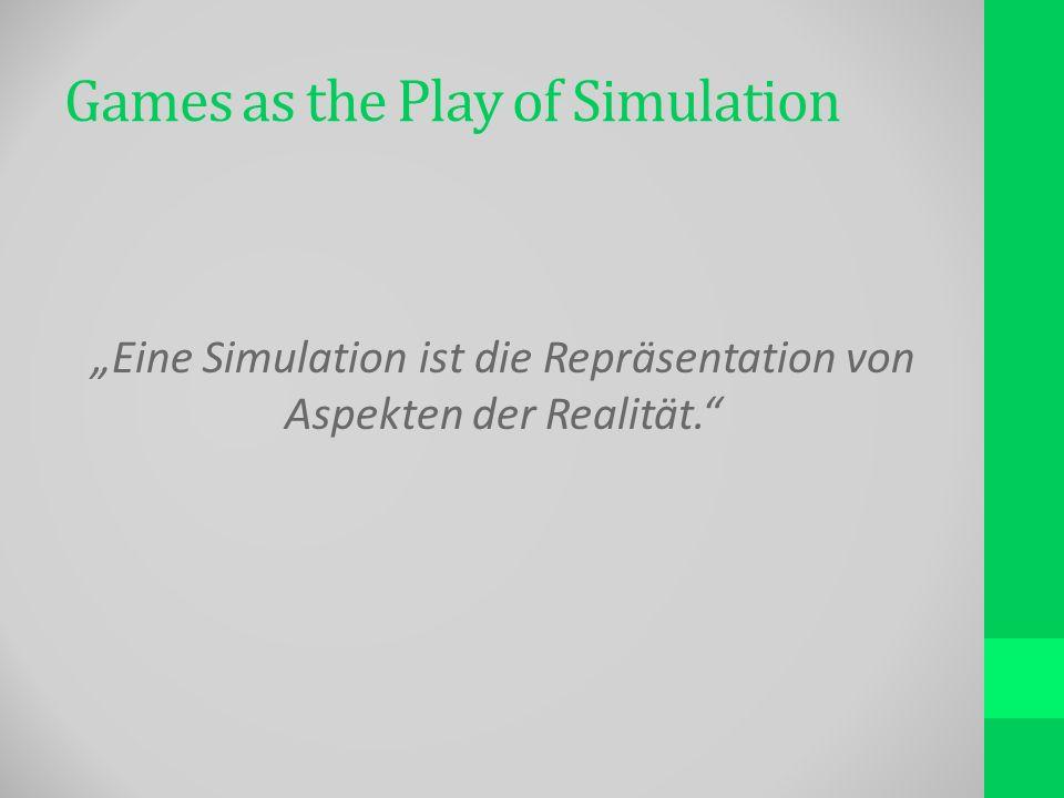 Games as the Play of Simulation Eine Simulation ist die Repräsentation von Aspekten der Realität.