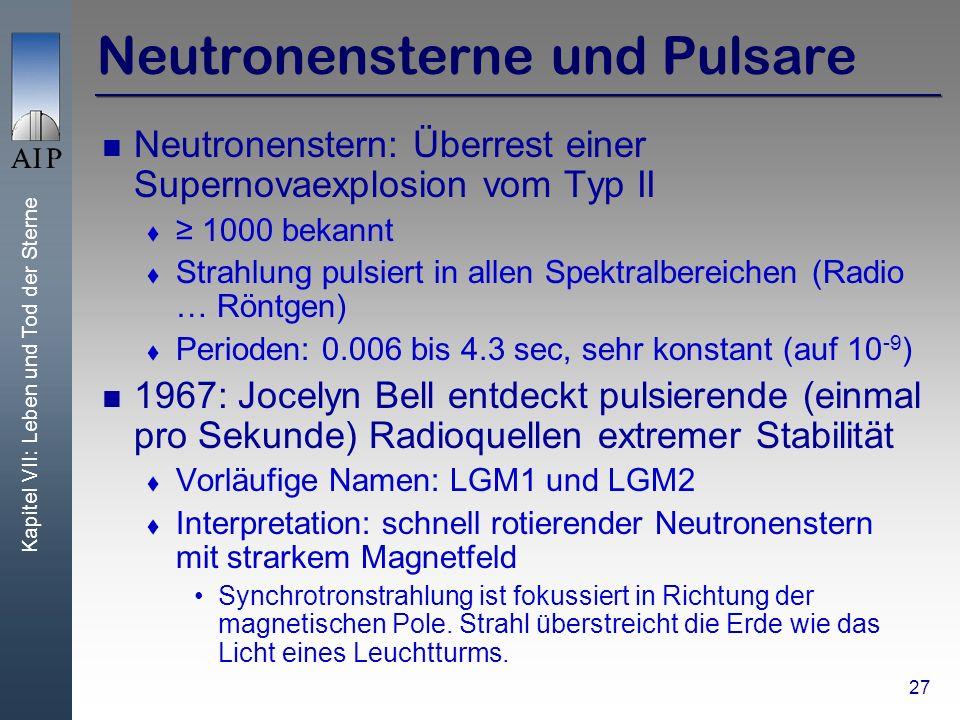 Kapitel VII: Leben und Tod der Sterne 27 Neutronensterne und Pulsare Neutronenstern: Überrest einer Supernovaexplosion vom Typ II 1000 bekannt Strahlung pulsiert in allen Spektralbereichen (Radio … Röntgen) Perioden: 0.006 bis 4.3 sec, sehr konstant (auf 10 -9 ) 1967: Jocelyn Bell entdeckt pulsierende (einmal pro Sekunde) Radioquellen extremer Stabilität Vorläufige Namen: LGM1 und LGM2 Interpretation: schnell rotierender Neutronenstern mit strarkem Magnetfeld Synchrotronstrahlung ist fokussiert in Richtung der magnetischen Pole.