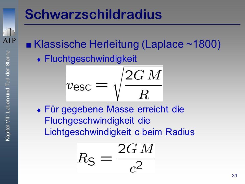 Kapitel VII: Leben und Tod der Sterne 31 Schwarzschildradius Klassische Herleitung (Laplace ~1800) Fluchtgeschwindigkeit Für gegebene Masse erreicht die Fluchgeschwindigkeit die Lichtgeschwindigkeit c beim Radius