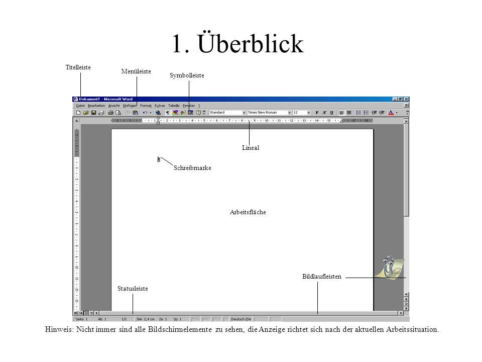 1. Überblick Titelleiste Menüleiste Symbolleiste Lineal Schreibmarke Arbeitsfläche Bildlaufleisten Statusleiste Hinweis: Nicht immer sind alle Bildsch