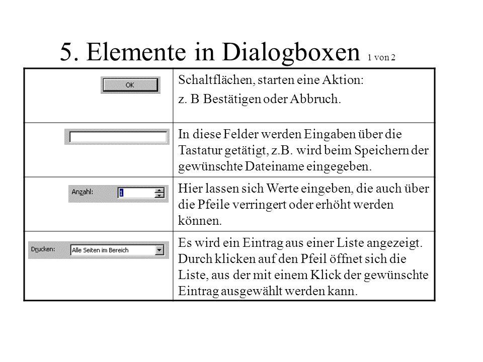 5. Elemente in Dialogboxen 1 von 2 Schaltflächen, starten eine Aktion: z. B Bestätigen oder Abbruch. In diese Felder werden Eingaben über die Tastatur