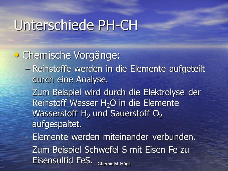 Chemie M. Hügli Unterschiede PH-CH Chemische Vorgänge: Chemische Vorgänge: –Reinstoffe werden in die Elemente aufgeteilt durch eine Analyse. Zum Beisp