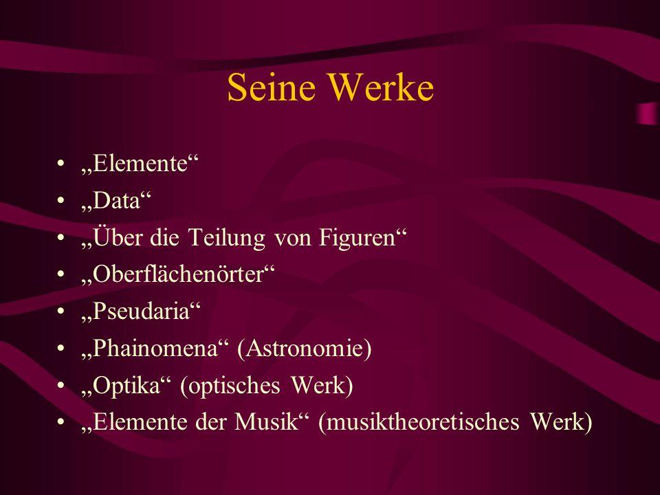 Seine Werke Elemente Data Über die Teilung von Figuren Oberflächenörter Pseudaria Phainomena (Astronomie) Optika (optisches Werk) Elemente der Musik (