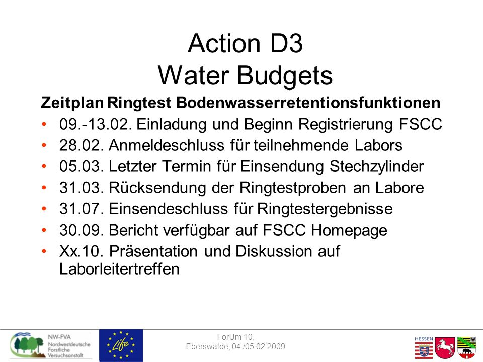 ForUm 10, Eberswalde, 04./05.02.2009 Action D3 Water Budgets Zeitplan Ringtest Bodenwasserretentionsfunktionen 09.-13.02.