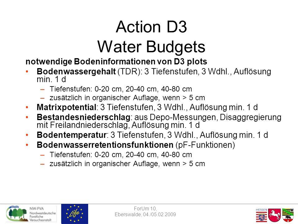 ForUm 10, Eberswalde, 04./05.02.2009 Action D3 Water Budgets verpflichtende and optionale Druckstufen für die Bodenwasserretentionsfunktionen in Action D3 D3 assessment Matric Pressure pF/kPa Moisture content unit Precision moisture content empfohlenes Instrument mandatorypF0.0 / 0m3 m-30.0001Sandbett mandatorypF1.0 / -1m3 m-30.0001Sandbett mandatorypF1.7 / -5m3 m-30.0001Sandbett optionalpF2.0 / -10m3 m-30.0001Sandbett mandatorypF2.5 / -33m3 m-30.0001Kaolinbett optionalpF3.0 / -100m3 m-30.0001Kaolinbett optionalpF3.4 / -250m3 m-30.0001Drucktopf mandatorypF4.2 / -1500m3 m-30.0001Drucktopf mandatorypF7.0 / -10 6 m3 m-30.0001Trockenschrank