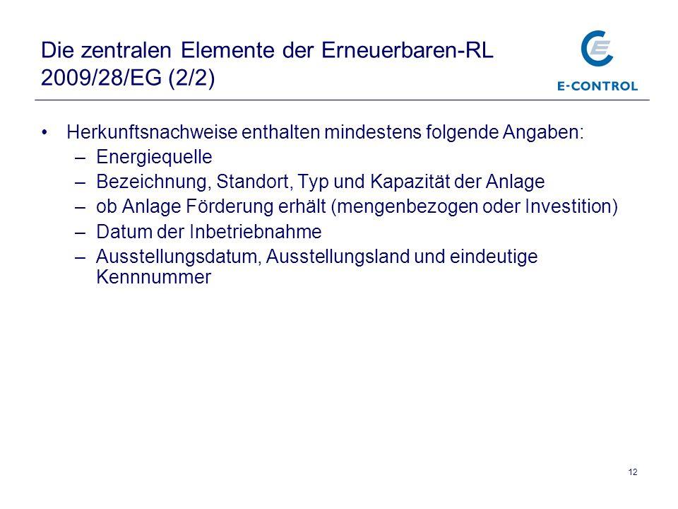 12 Die zentralen Elemente der Erneuerbaren-RL 2009/28/EG (2/2) Herkunftsnachweise enthalten mindestens folgende Angaben: –Energiequelle –Bezeichnung,
