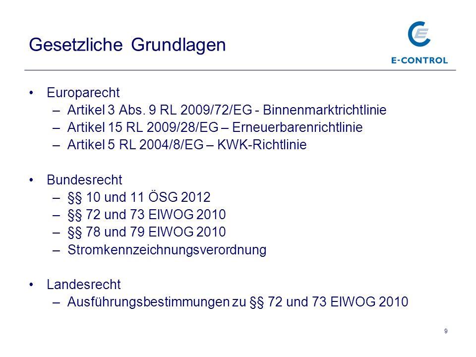 9 Gesetzliche Grundlagen Europarecht –Artikel 3 Abs. 9 RL 2009/72/EG - Binnenmarktrichtlinie –Artikel 15 RL 2009/28/EG – Erneuerbarenrichtlinie –Artik