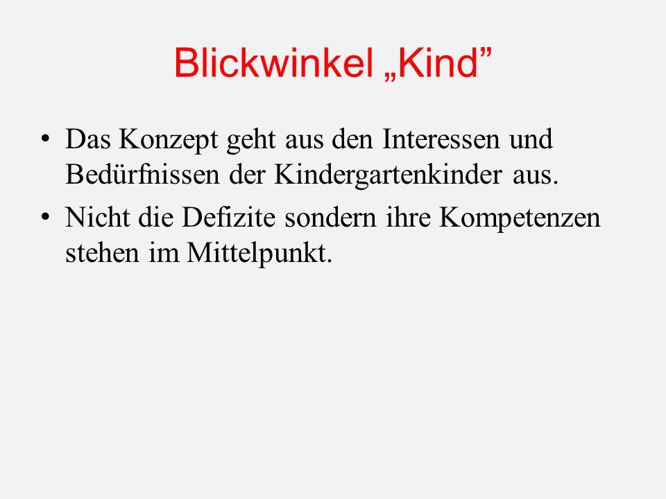 Blickwinkel Kind Das Konzept geht aus den Interessen und Bedürfnissen der Kindergartenkinder aus.