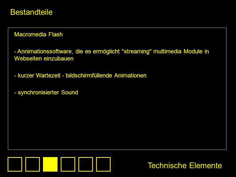 Bestandteile Technische Elemente Macromedia Flash - Annimationssoftware, die es ermöglicht