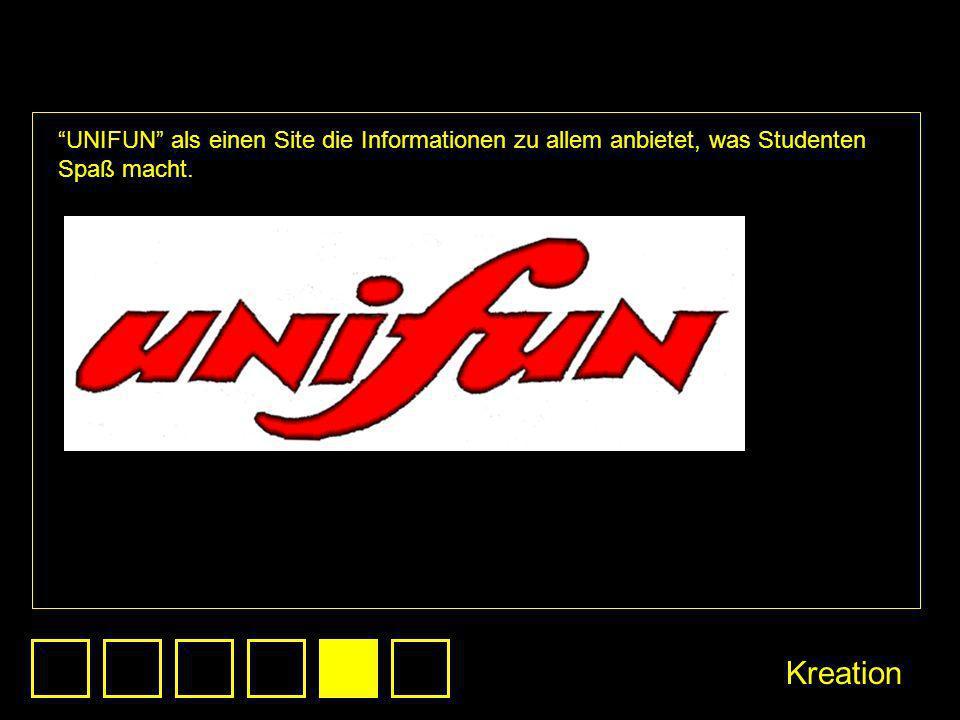 UNIFUN als einen Site die Informationen zu allem anbietet, was Studenten Spaß macht. Kreation