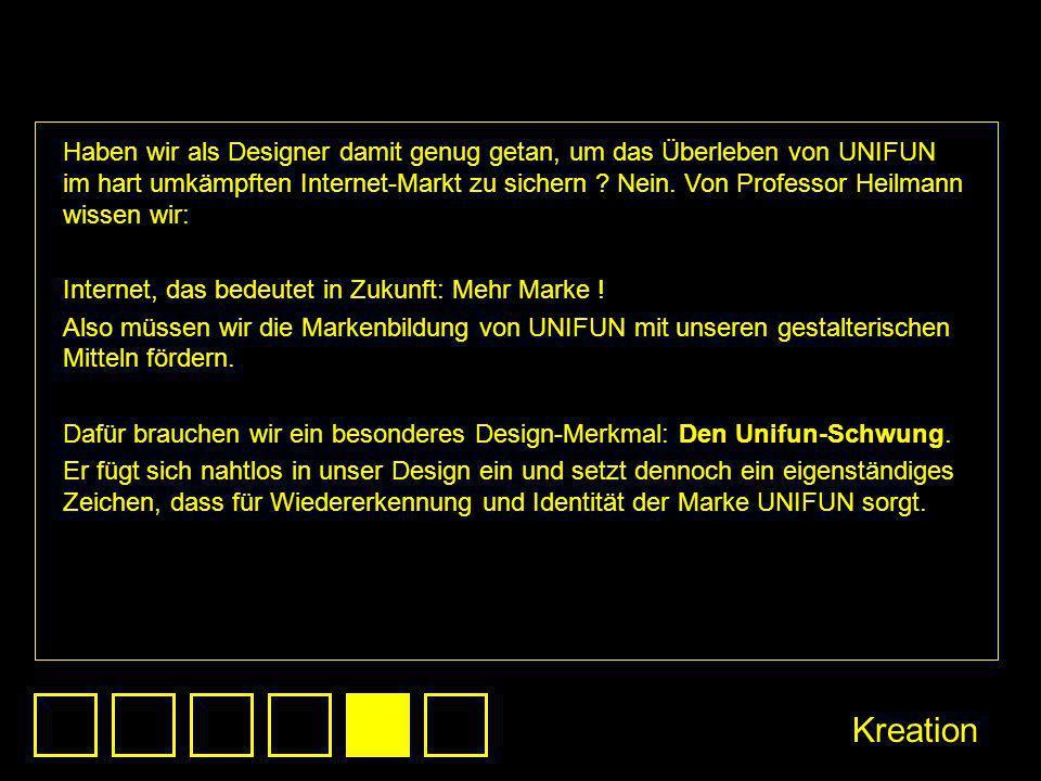 Haben wir als Designer damit genug getan, um das Überleben von UNIFUN im hart umkämpften Internet-Markt zu sichern ? Nein. Von Professor Heilmann wiss