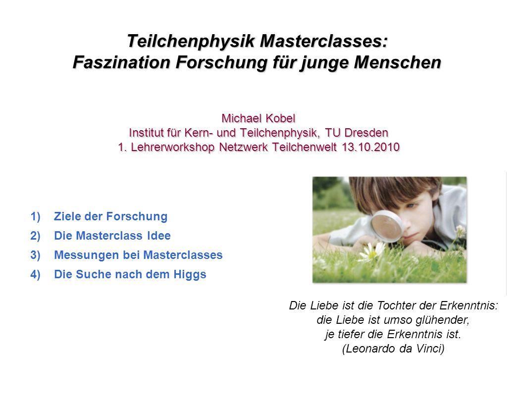 Teilchenphysik Masterclasses: Faszination Forschung für junge Menschen Michael Kobel Institut für Kern- und Teilchenphysik, TU Dresden 1. Lehrerworksh