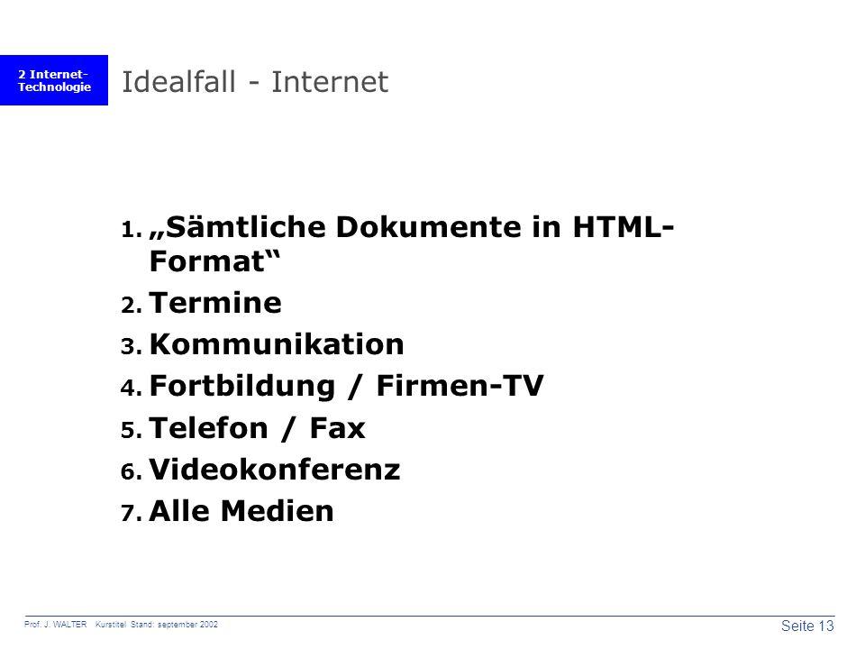 2 Internet- Technologie Seite 13 Prof. J.
