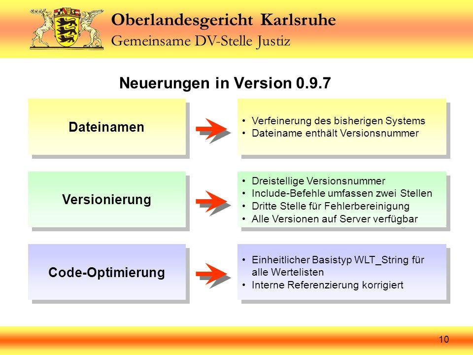 Oberlandesgericht Karlsruhe Gemeinsame DV-Stelle Justiz 10 Neuerungen in Version 0.9.7 Dateinamen Verfeinerung des bisherigen Systems Dateiname enthäl