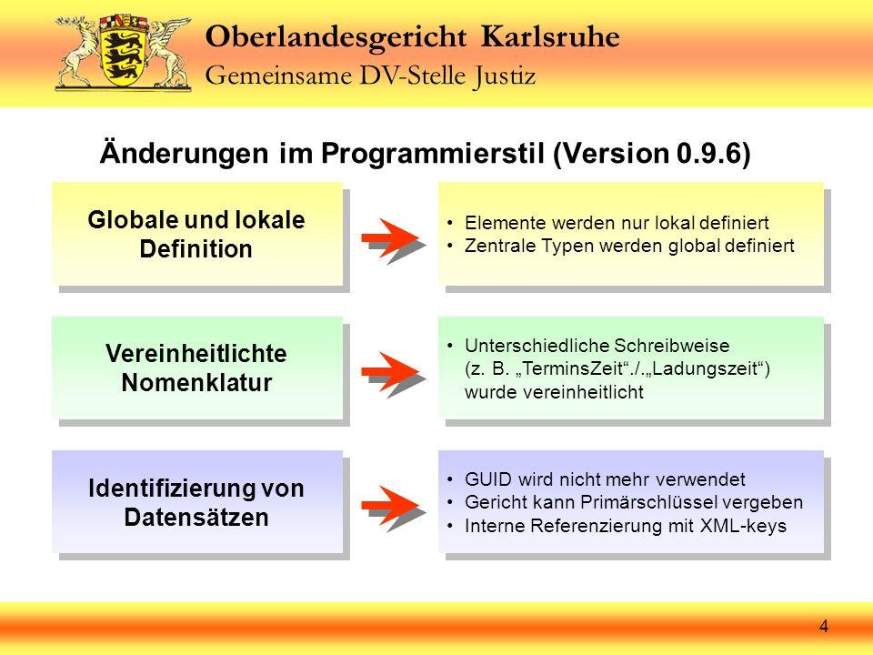 Oberlandesgericht Karlsruhe Gemeinsame DV-Stelle Justiz 4 Änderungen im Programmierstil (Version 0.9.6) Globale und lokale Definition Elemente werden
