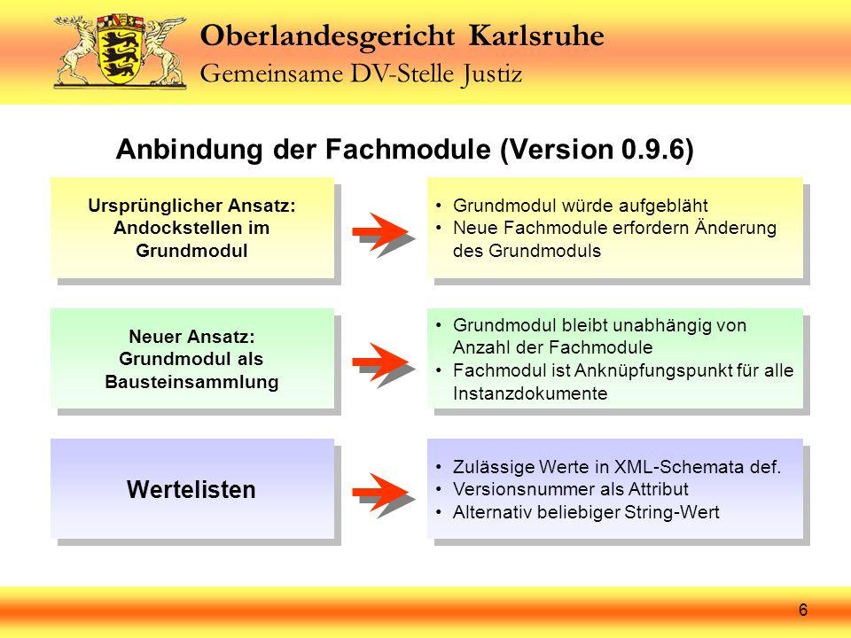 Oberlandesgericht Karlsruhe Gemeinsame DV-Stelle Justiz 7 Ursprüngliches Konzept: Andockstellen für Fachdatensätze Grundmodul Fachmodul 1 Fachmodul 2 Fachmodul 3 Fachmodul 4 Fachmodul 5 Fachmodul 6 Nachteile: Anzahl und Bezeichnung der Fachmodule muss von vornherein feststehen XML-Instanzdokument verweist auf mehrere Schemata Andockstellen