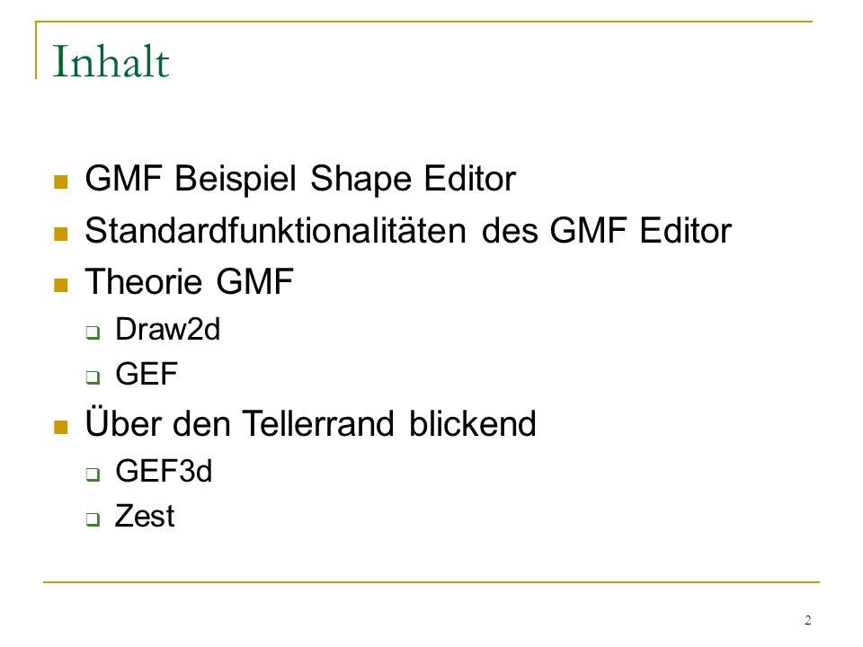 2 Inhalt GMF Beispiel Shape Editor Standardfunktionalitäten des GMF Editor Theorie GMF Draw2d GEF Über den Tellerrand blickend GEF3d Zest