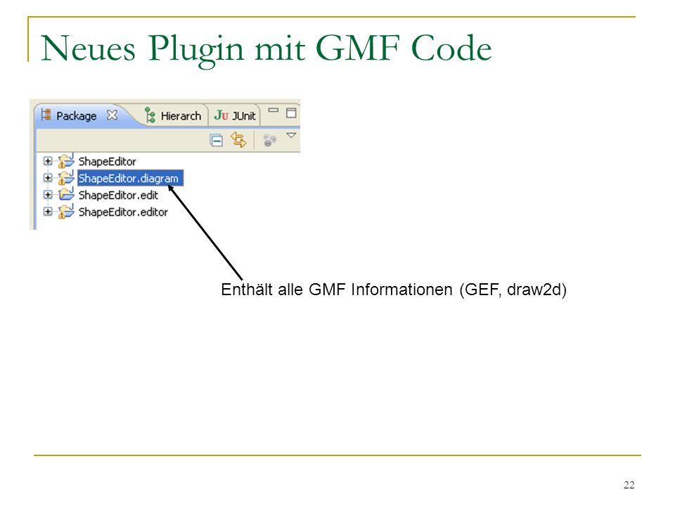 22 Neues Plugin mit GMF Code Enthält alle GMF Informationen (GEF, draw2d)